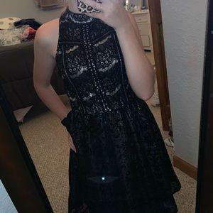 Sparkly Black Above The Knee Halter Formal Dress